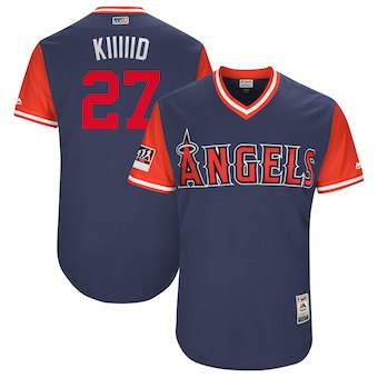 Men's Los Angeles Angels 27 Mike Trout Kiiiiid Majestic Navy 2018 Players' Weekend Authentic Jersey