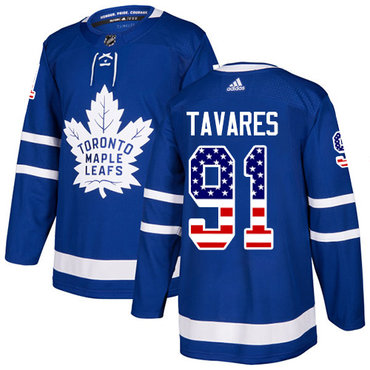 Adidas Toronto Maple Leafs #91 John Tavares Blue Home Authentic USA Flag Stitched NHL Jersey