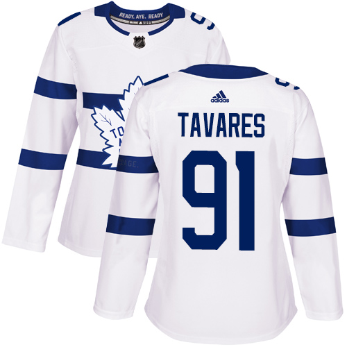 Adidas Maple Leafs #91 John Tavares White Authentic 2018 Stadium Series Women's Stitched NHL Jersey