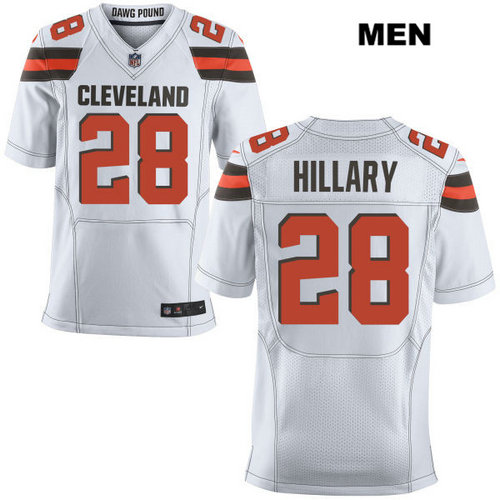 Nike Cleveland Browns #28 Darius Hillary White Stitched NFL Elite Jersey