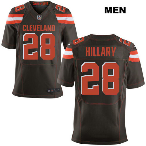 Nike Cleveland Browns #28 Darius Hillary Brown Stitched NFL Elite Jersey