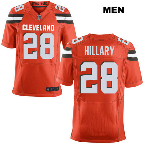 Nike Cleveland Browns #28 Darius Hillary Orange Stitched NFL Elite Jersey