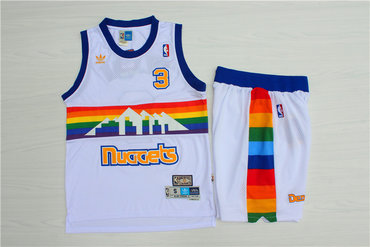 Nuggets #3 Allen Iverson White Hardwood Classics Jersey(With Shorts)