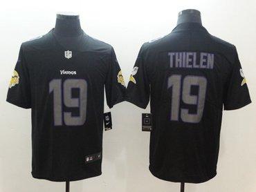 Nike Minnesota Vikings #19 Adam Thielen Black Men's Stitched NFL Limited Rush Impact Jersey