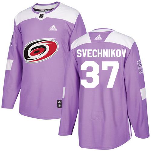 Adidas Carolina Hurricanes #37 Andrei Svechnikov Purple Authentic Fights Cancer Stitched NHL Jersey