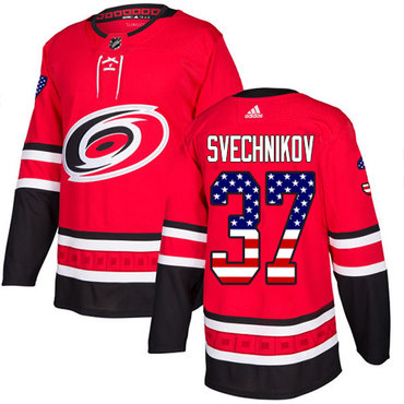 Adidas Carolina Hurricanes #37 Andrei Svechnikov Red Home Authentic USA Flag Stitched NHL Jersey