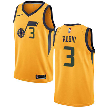 Nike Utah Jazz #3 Ricky Rubio Yellow NBA Swingman Statement Edition Jersey