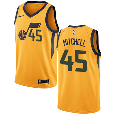 premium selection da371 e588f Nike Utah Jazz #45 Donovan Mitchell Yellow NBA Swingman ...