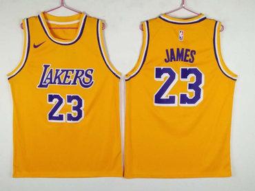 sports shoes cd861 3f6e4 Men's Los Angeles Lakers 23 Lebron James Yellow Nike ...