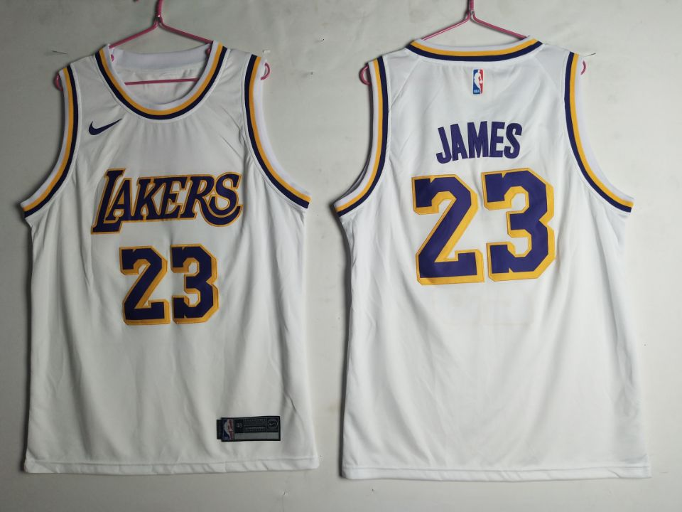 premium selection e199b f1a8b Men's Los Angeles Lakers 23 Lebron James White Nike Swingman ...