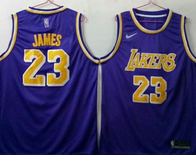 the best attitude 43b9e 4fcc2 Men's Los Angeles Lakers 23 Lebron James Purple Nike ...