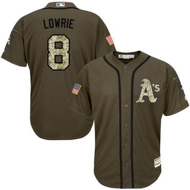 Men's Oakland Athletics #8 Jed Lowrie Green Salute to Service Stitched Baseball Jersey