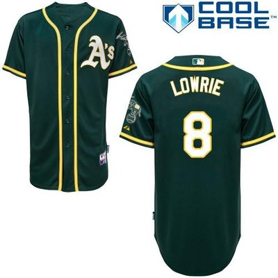 Men's Oakland Athletics #8 Jed Lowrie Green Cool Base Baseball Jersey