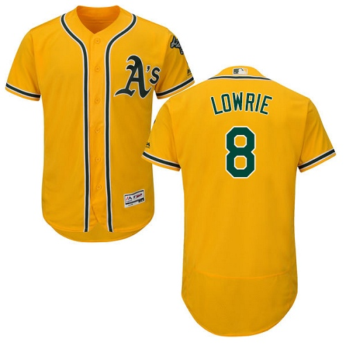 Men's Oakland Athletics #8 Jed Lowrie Gold Flexbase Authentic Collection Stitched Baseball Jersey