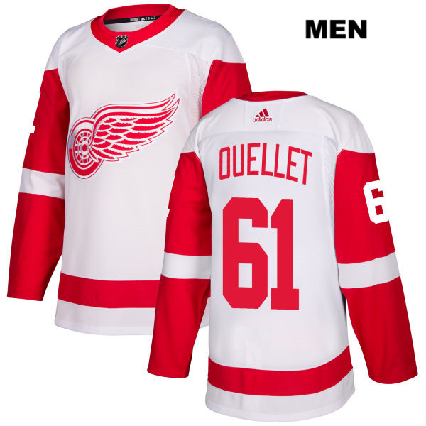 Mens Adidas Detroit Red Wings #61 Xavier Ouellet White Away Authentic NHL Jersey
