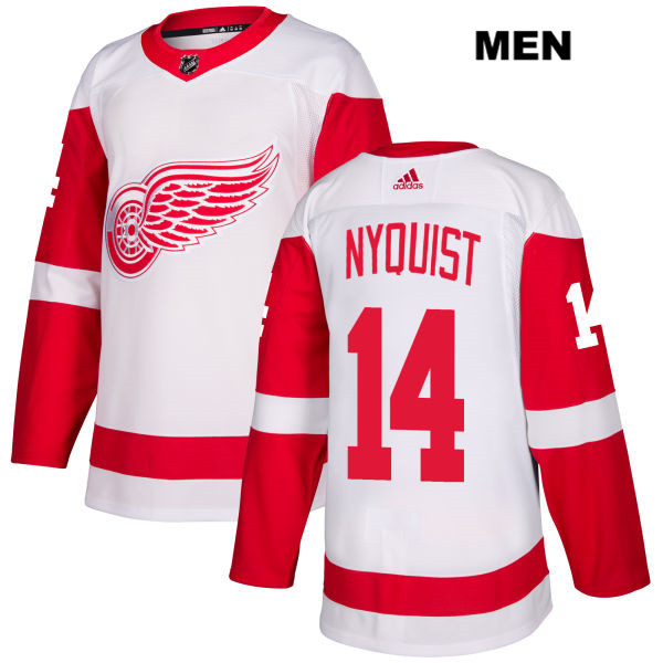 Mens Adidas Detroit Red Wings #14 Gustav Nyquist White Away Authentic NHL Jersey