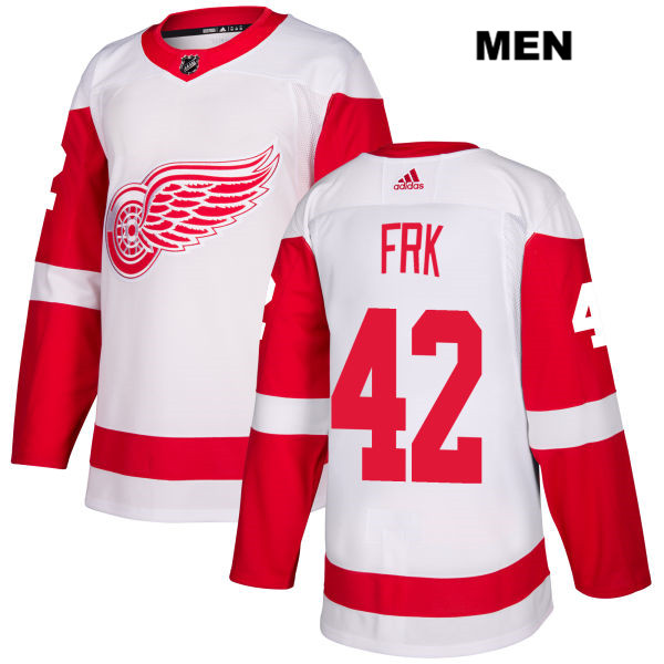 Mens Adidas Detroit Red Wings #42 Martin Frk White Away Authentic NHL Jersey