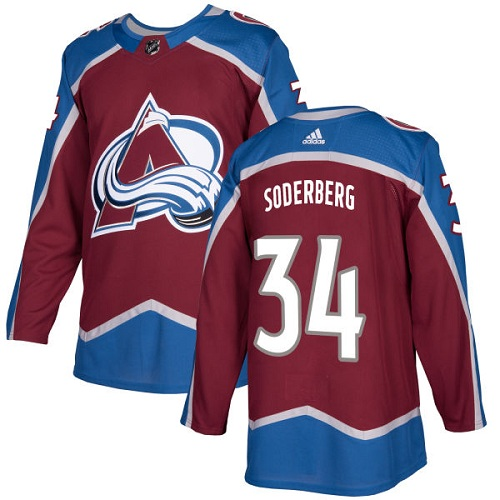 Adidas Colorado Avalanche #34 Carl Soderberg Burgundy Home Authentic Stitched NHL Jersey
