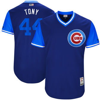 Women's Chicago Cubs #44 Anthony Rizzo Tony Nickname Majestic Royal 2017 Players Weekend Jersey