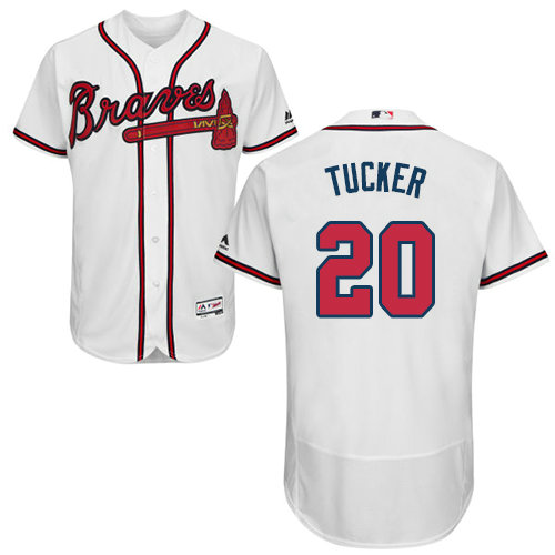 Atlanta Braves 20 Preston Tucker White Flexbase Authentic Collection Stitched Baseball Jersey