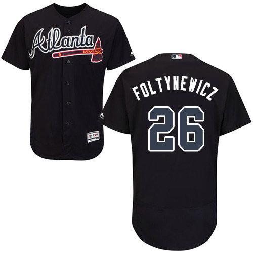Atlanta Braves 26 Mike Foltynewicz Navy Blue Flexbase Authentic Collection  Stitched Baseball Jersey