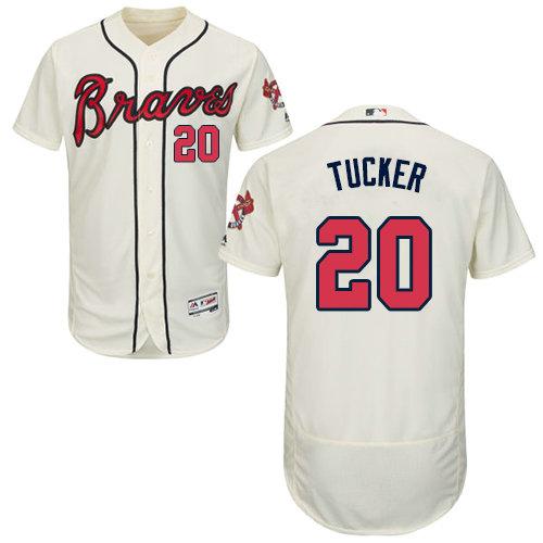 Atlanta Braves 20 Preston Tucker Cream Flexbase Authentic Collection Stitched Baseball Jersey