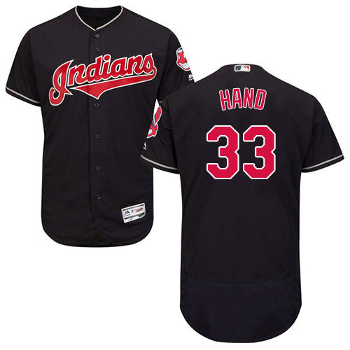 Cleveland Indians 33 Brad Hand Navy Blue Flexbase Authentic Collection Stitched Baseball Jersey