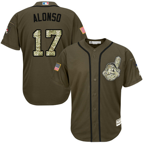 Cleveland Indians 17 Yonder Alonso Green Salute to Service Stitched Baseball Jersey
