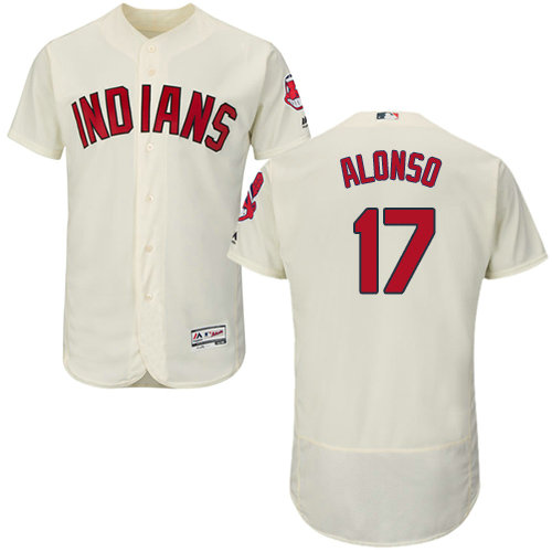 Cleveland Indians 17 Yonder Alonso Cream Flexbase Authentic Collection Stitched Baseball Jersey