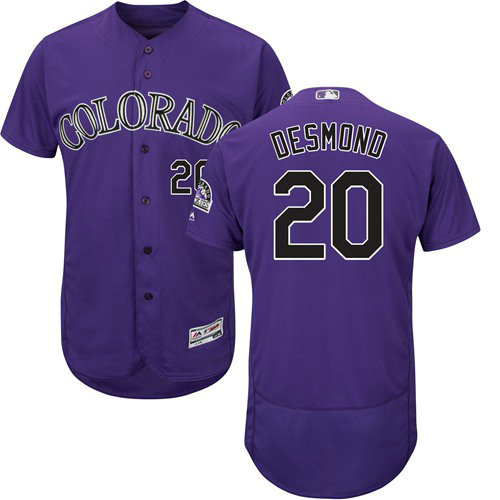 Colorado Rockies 20 Ian Desmond Purple Flexbase Authentic Collection Stitched Baseball Jersey
