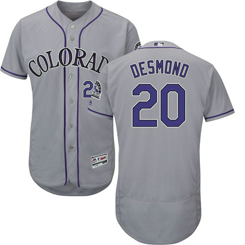 Colorado Rockies 20 Ian Desmond Grey Flexbase Authentic Collection Stitched Baseball Jersey