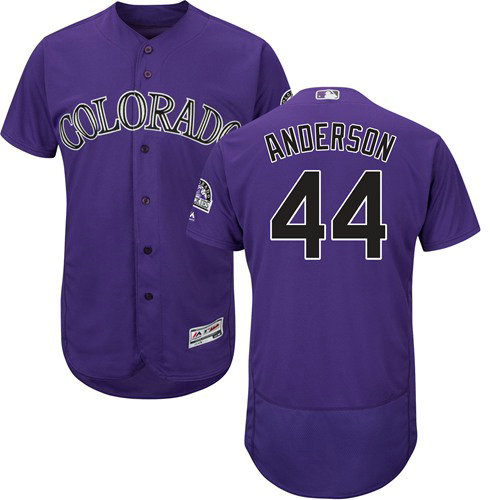 Colorado Rockies 44 Tyler Anderson Purple Flexbase Authentic Collection Stitched Baseball Jersey
