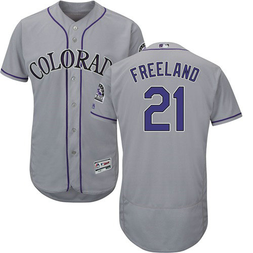 Colorado Rockies 21 Kyle Freeland Grey Flexbase Authentic Collection Stitched Baseball Jersey