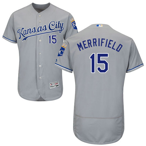 Kansas City Royals 15 Whit Merrifield Grey Flexbase Authentic Collection Stitched Baseball Jersey