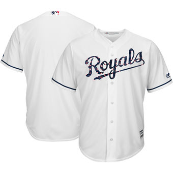 Kansas City Royals Majestic Blank White 2018 Stars & Stripes Cool Base Team Jersey