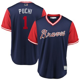 Men's Atlanta Braves 1 Ozzie Albies Puchi Majestic Navy 2018 Players' Weekend Cool Base Jersey