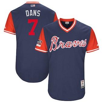 Men's Atlanta Braves 7 Dansby Swanson Dans Majestic Navy 2018 Players' Weekend Authentic Jersey