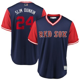 Men's Boston Red Sox 24 David Price Slim Dunkin Navy 2018 Players' Weekend Cool Base Jersey