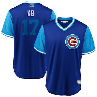 Men's Chicago Cubs 17 Kris Bryant KB Majestic Royal 2018 Players' Weekend Cool Base Jersey