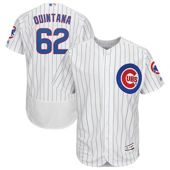 Men's Chicago Cubs 62 Jose Quintana Majestic White Flex Base Authentic Collection Player Jersey