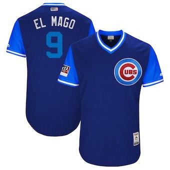 Men's Chicago Cubs 9 Javier Baez El Mago Majestic Roya 2018 Players' Weekend Authentic Jersey