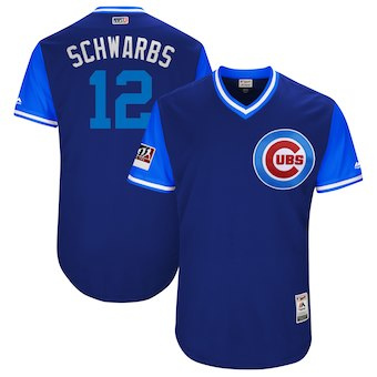Men's Chicago Cubs 12 Kyle Schwarber Schwarbs Majestic Royal 2018 Players' Weekend Authentic Jersey