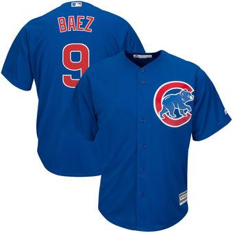 Men's Chicago Cubs 9 Javier Baez Majestic Alternate Royal Official Cool Base Player Jersey