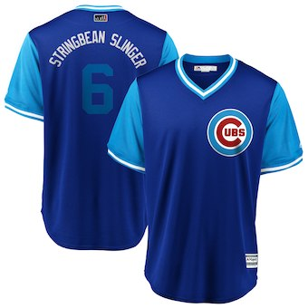 Men's Chicago Cubs 6 Carl Edwards Jr. Stringbean Slinger Majestic Royal 2018 Players' Weekend Cool Base Jersey