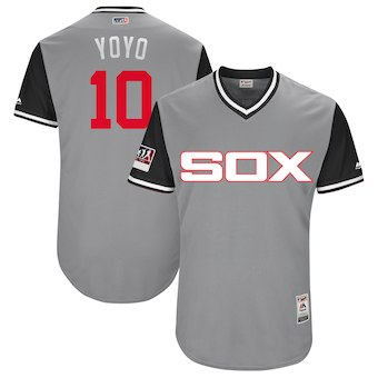 Men's Chicago White Sox 10 Yoan Moncada Yoyo Majestic Gray 2018 Players' Weekend Authentic Jersey