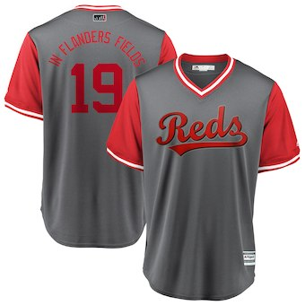 Men's Cincinnati Reds 19 Joey Votto In Flanders Fields Majestic Gray 2018 Players' Weekend Cool Base Jersey