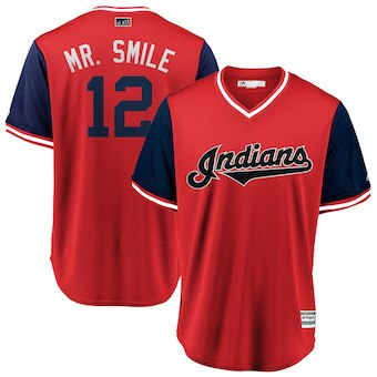 Men's Cleveland Indians 12 Francisco Lindor Mr. Smile Majestic Red 2018 Players' Weekend Cool Base Jersey