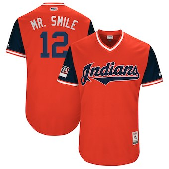 Men's Cleveland Indians 12 Francisco Lindor Mr. Smile Orange 2018 Players' Weekend Authentic Jersey