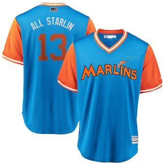 Men's Miami Marlins 13 Starlin Castro All Starlin Majestic Light Blue 2018 Players' Weekend Cool Base Jersey