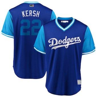 Men's Los Angeles Dodgers 22 Clayton Kershaw Kersh Majestic Royal 2018 Players' Weekend Cool Base Jersey